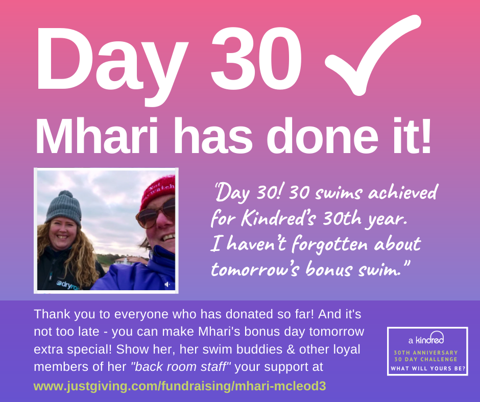 image of Mhari smiling having completed her 30 day swim